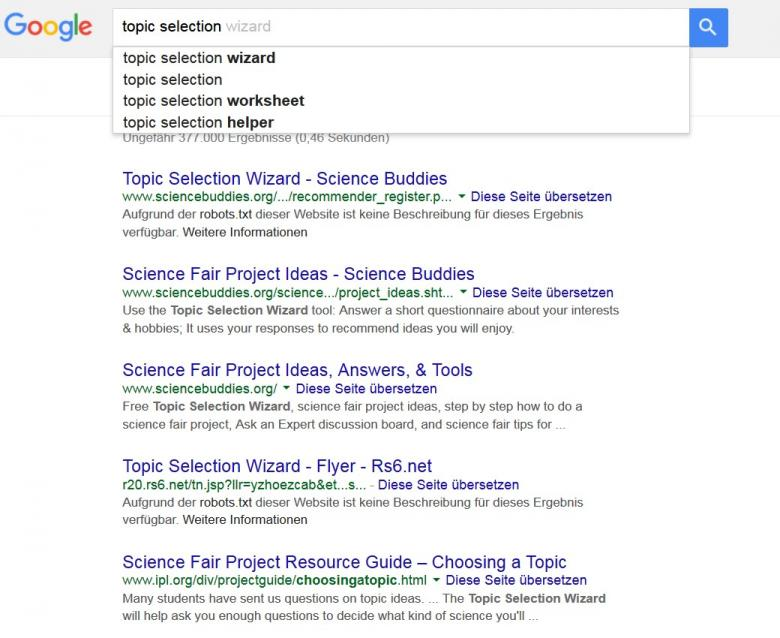 Google search results for the keyword phrase 'topic selection'