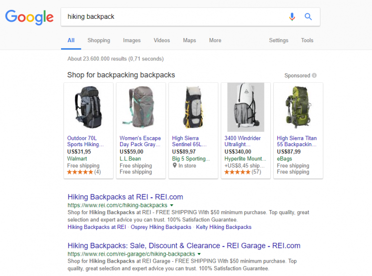 Google Search Result for hiking backpack