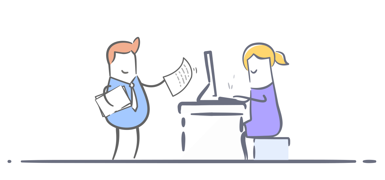 Graphic of a man walking towards the desk of a woman, handing her a paper.