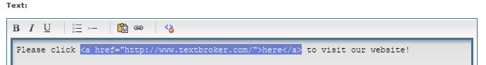 HTML editor anchor tag example