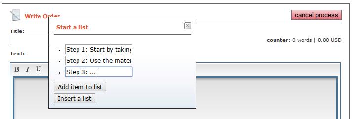 HTML editor bullet list example input