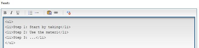 HTML Bullet list example