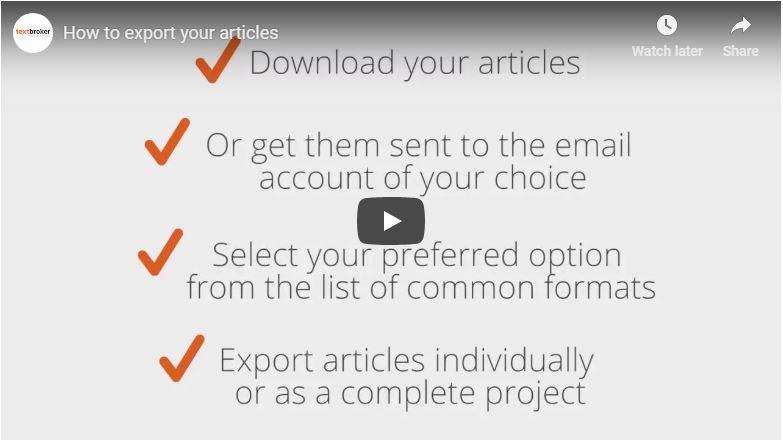 Textbroker Export Options