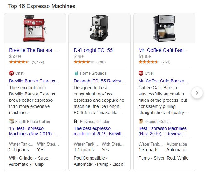 "Product Carousel for ""Espresso Machine"""