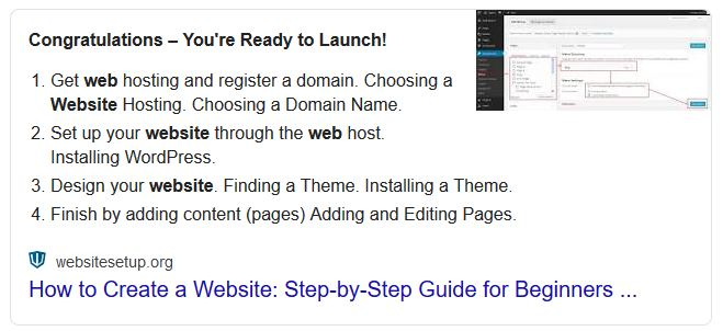 "Featured Snippet for ""How to create a website"""